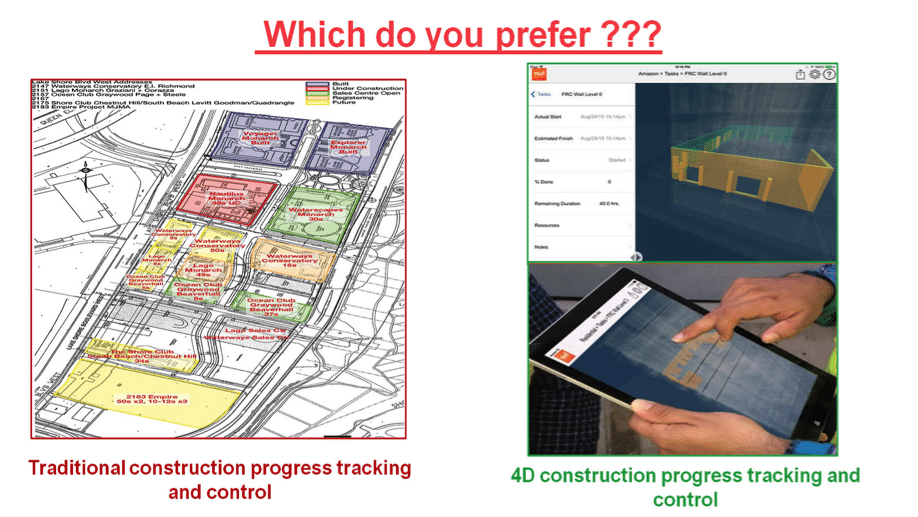 traditional progress tracking vs. 4D progress tracking